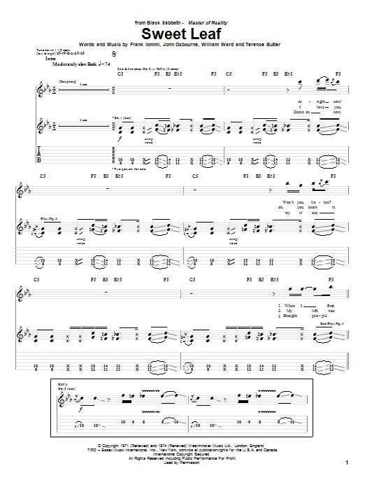Tablature guitare Sweet Leaf de Black Sabbath - Tablature Guitare