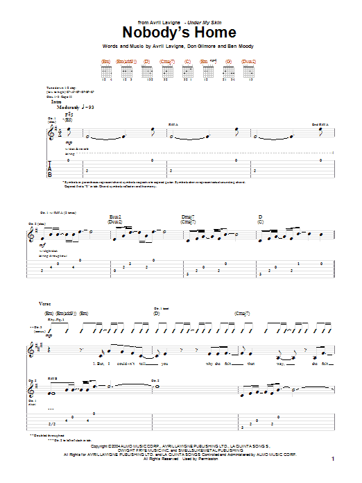 Tablature guitare Nobody's Home de Avril Lavigne - Tablature Guitare