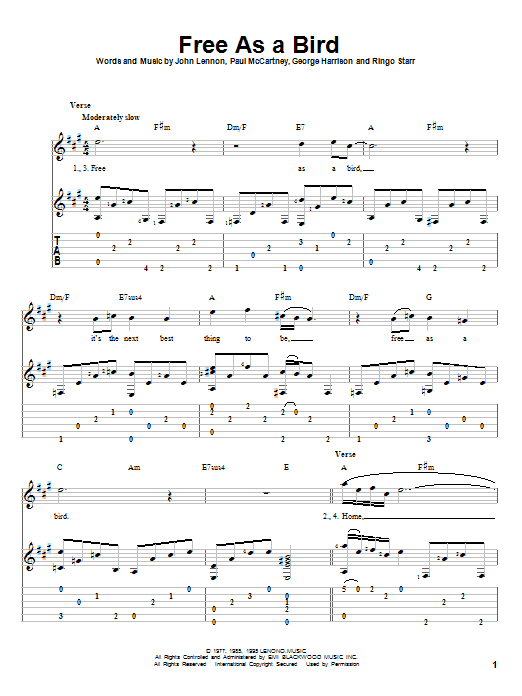 Free As A Bird | The Beatles | Guitar Tab