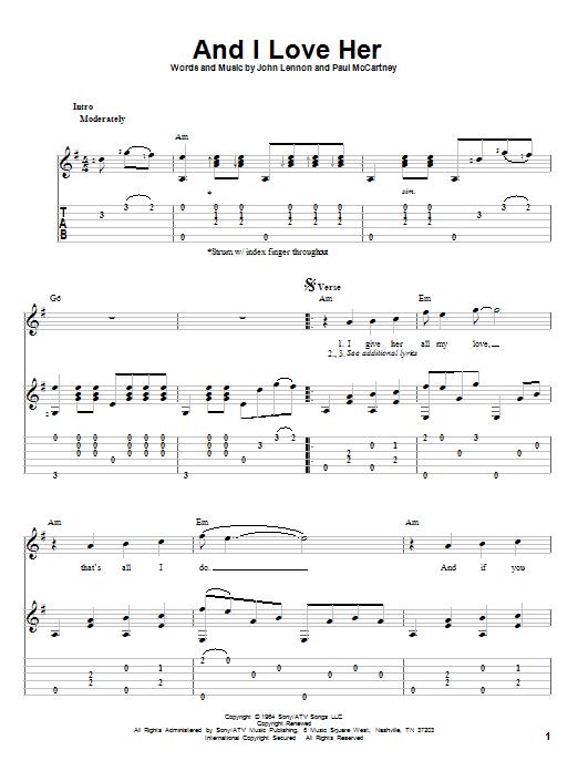 Tablature guitare And I Love Her de The Beatles - Tablature Guitare