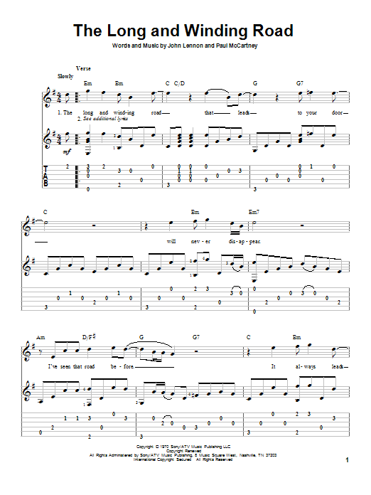 Tablature guitare The Long And Winding Road de The Beatles - Tablature Guitare