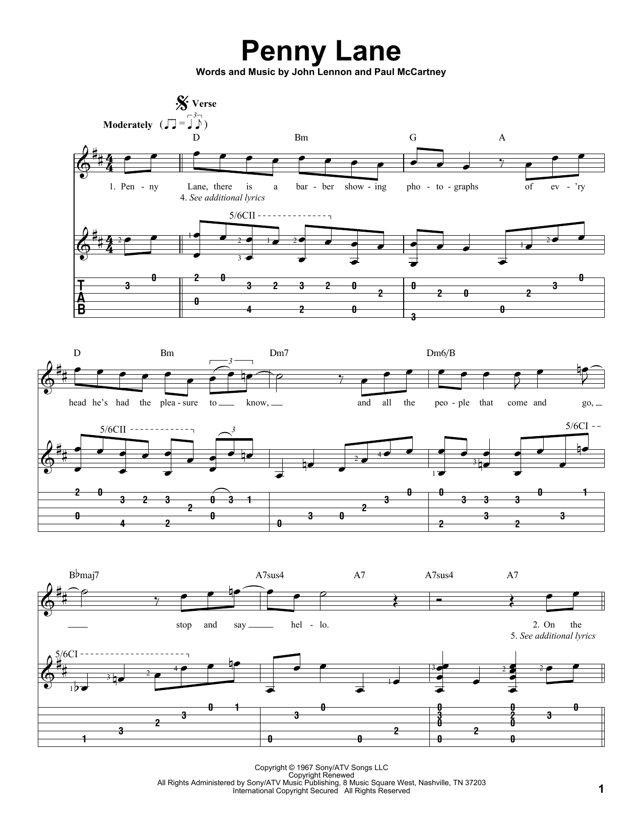 Tablature guitare Penny Lane de The Beatles - Tablature Guitare