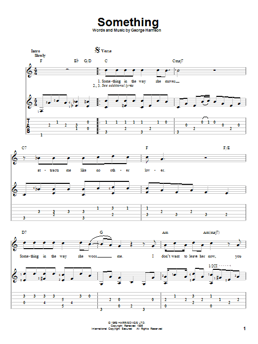 Something Guitar Tab by The Beatles (Guitar Tab – 82591)
