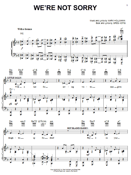 We're Not Sorry Sheet Music