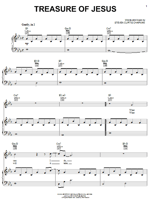 Treasure Of Jesus (Piano, Vocal & Guitar (Right-Hand Melody))