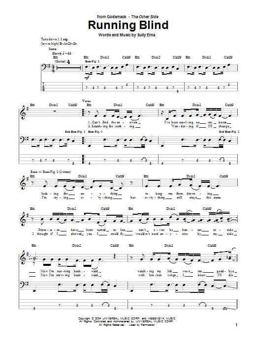 Running Blind (Bass Guitar Tab)