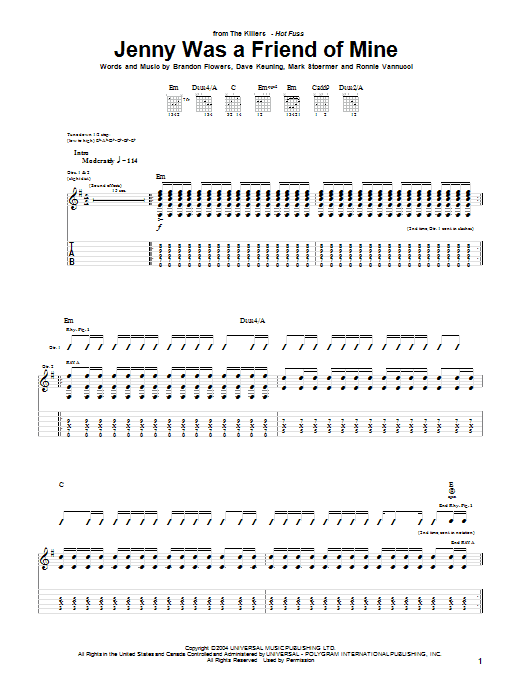 Tablature guitare Jenny Was A Friend Of Mine de The Killers - Tablature Guitare