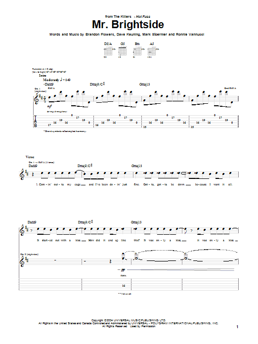 Tablature guitare Mr. Brightside de The Killers - Tablature Guitare