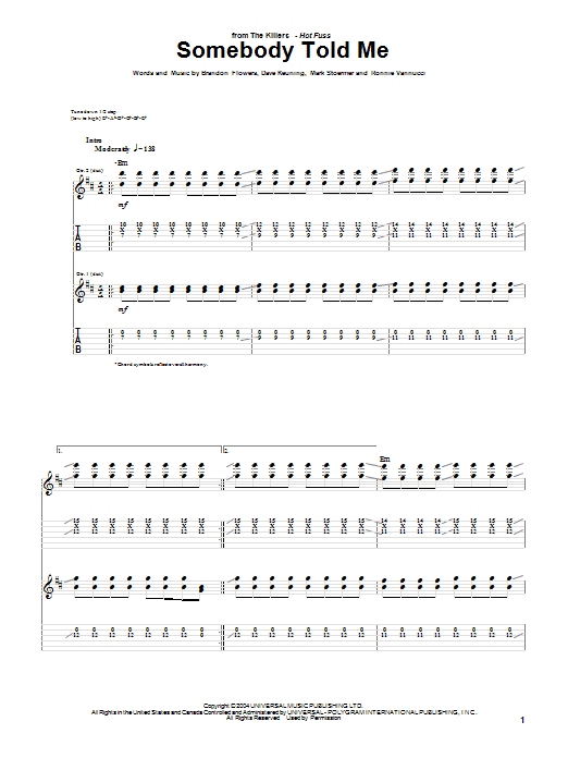 Tablature guitare Somebody Told Me de The Killers - Tablature Guitare