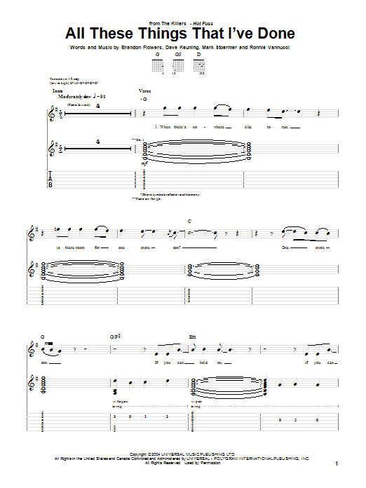 Tablature guitare All These Things That I've Done de The Killers - Tablature Guitare