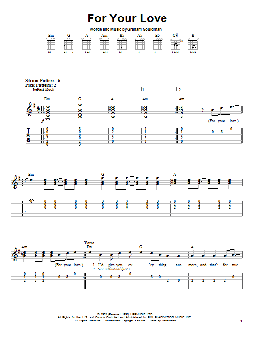 Tablature guitare For Your Love de Eric Clapton - Tablature guitare facile