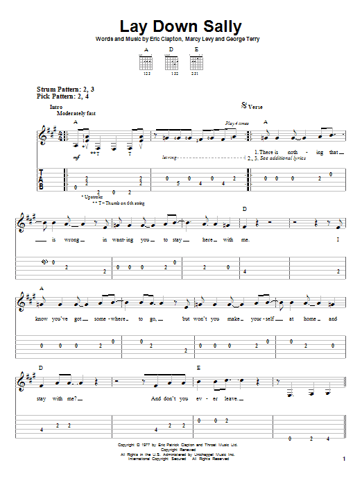 Tablature guitare Lay Down Sally de Eric Clapton - Tablature guitare facile