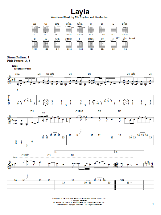 Layla by Eric Clapton - Easy Guitar Tab - Guitar Instructor
