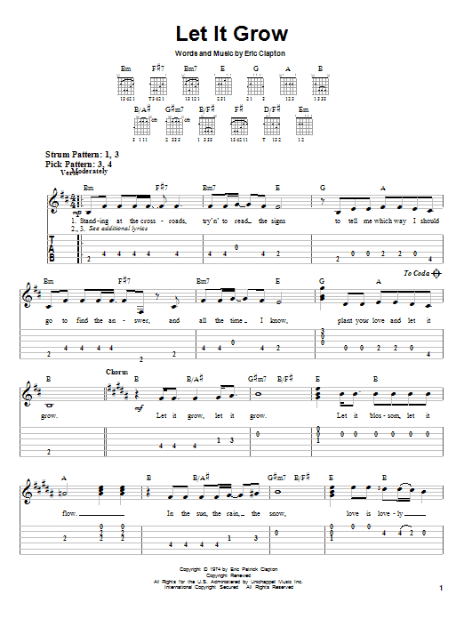 Tablature guitare Let It Grow de Eric Clapton - Tablature guitare facile