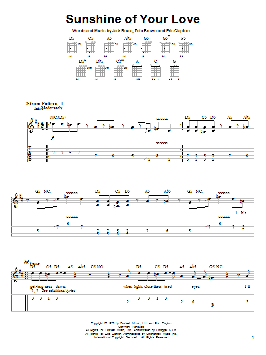 Sunshine Of Your Love (Easy Guitar Tab)