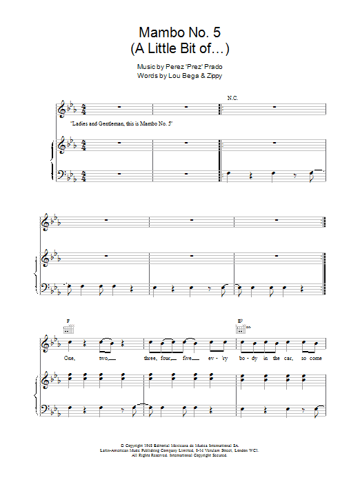 Mambo No. 5 (A Little Bit Of...) Sheet Music