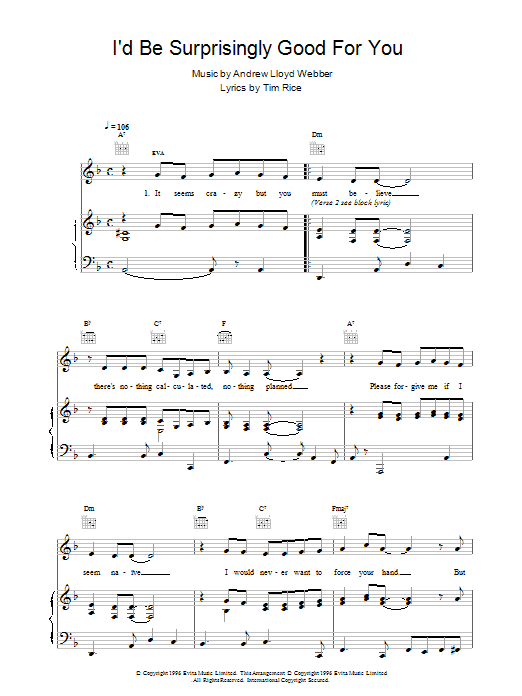 I'd Be Surprisingly Good For You (from Evita) Sheet Music