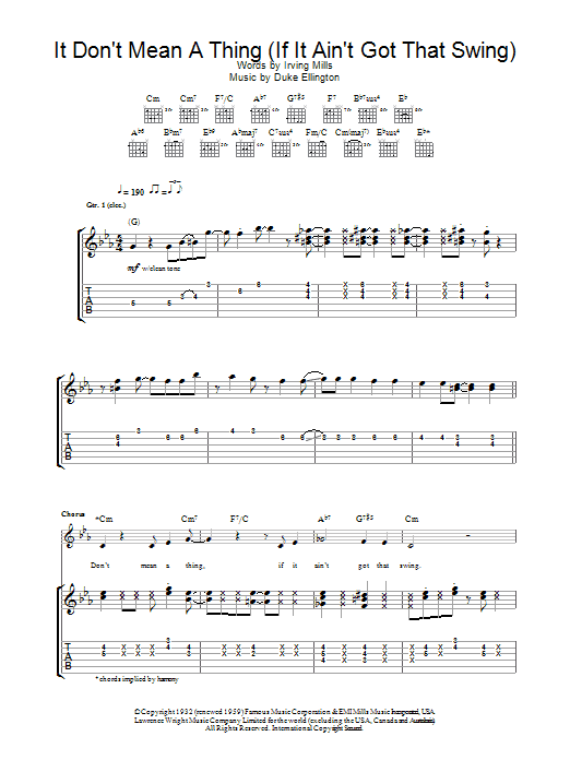 It Don't Mean A Thing (If It Ain't Got That Swing) (Guitar Tab)