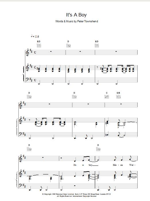 It's A Boy Sheet Music