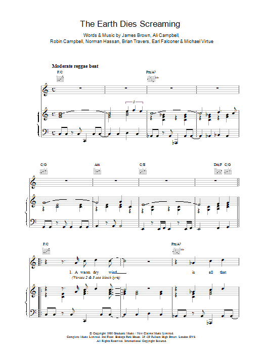 The Earth Dies Screaming Sheet Music