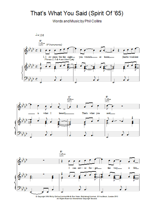 That's What You Said (Spirit Of '65) Sheet Music