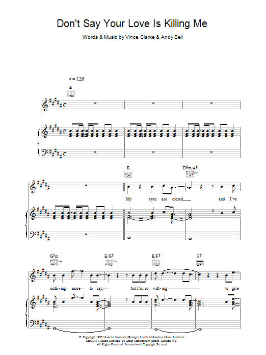 Don't Say Your Love Is Killing Me Sheet Music