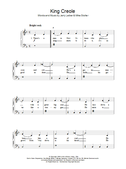 King Creole Sheet Music