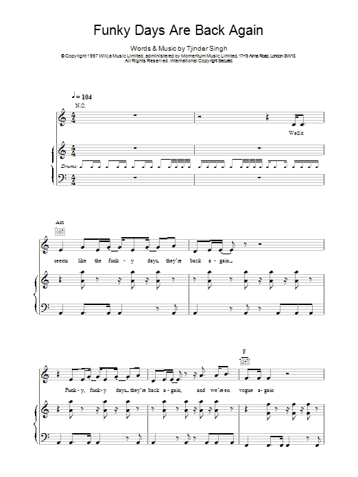 Funky Days Are Back Again Sheet Music