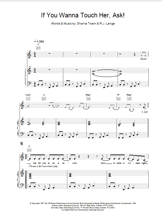If You Wanna Touch Her, Ask! Sheet Music
