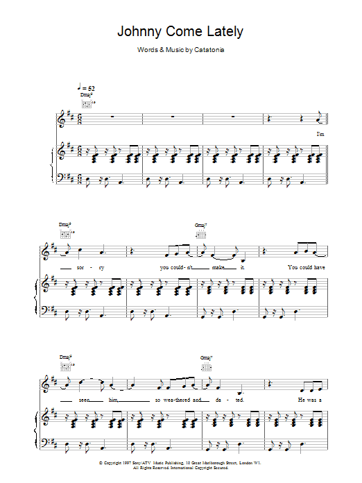 Johnny Come Lately Sheet Music