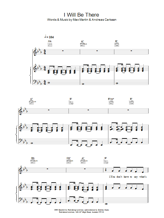 I Will Be There Sheet Music