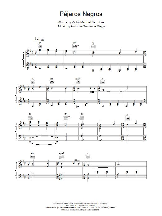 Pájaros Negros Sheet Music