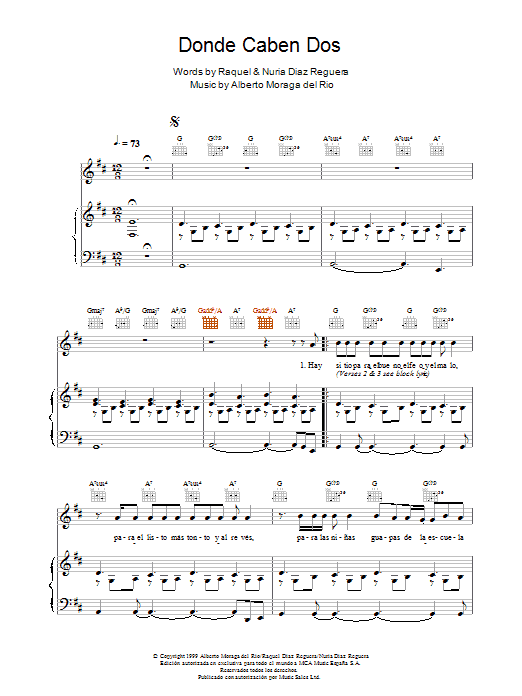 Donde Caben Dos Sheet Music