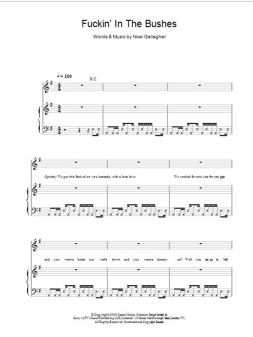 Fuckin' In The Bushes Sheet Music