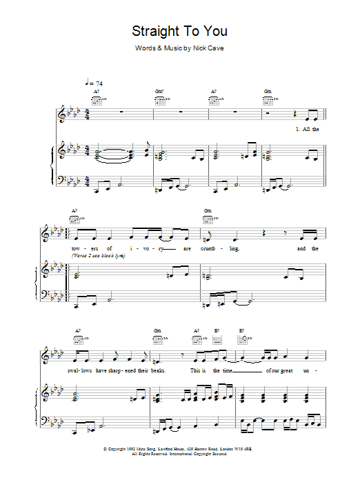 Straight To You Sheet Music