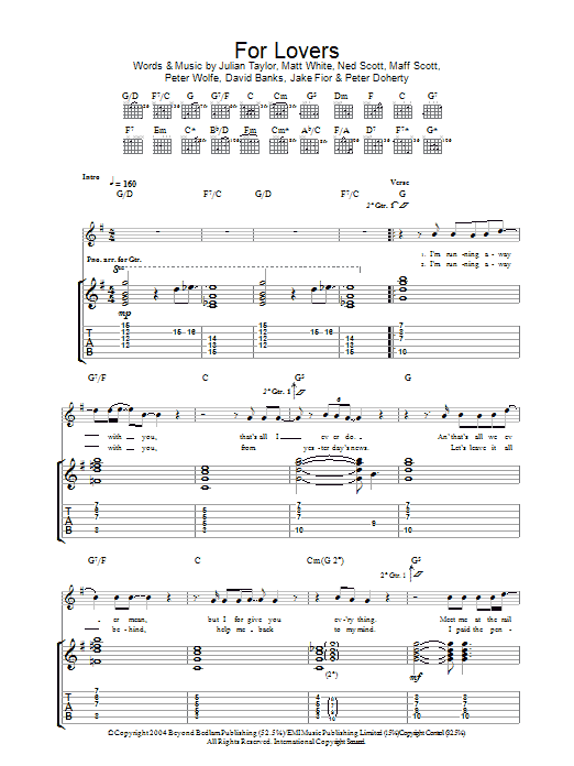 For Lovers (Guitar Tab)
