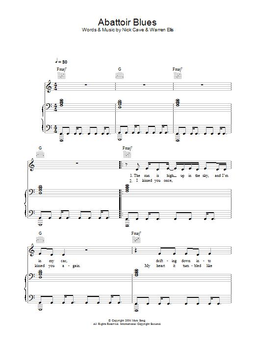 Abattoir Blues Sheet Music