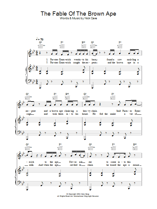The Fable Of The Brown Ape Sheet Music