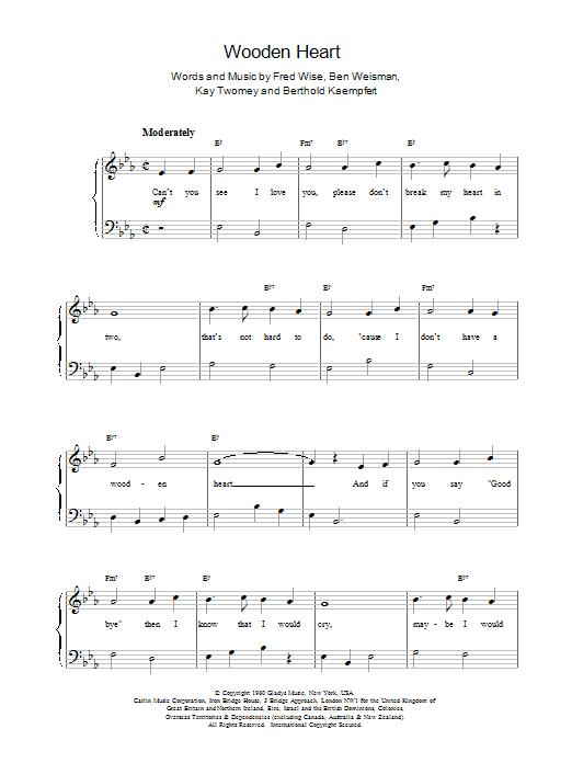 Wooden Heart Sheet Music