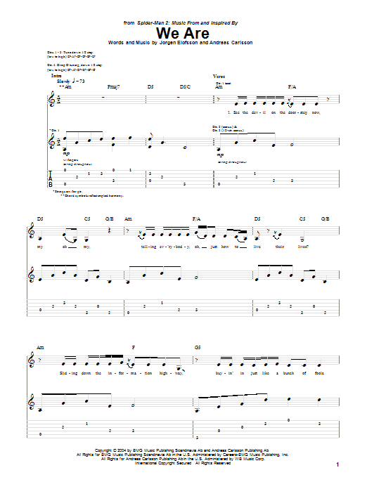 Tablature guitare We Are (from Spider-Man 2) de Ana Johnsson - Tablature Guitare