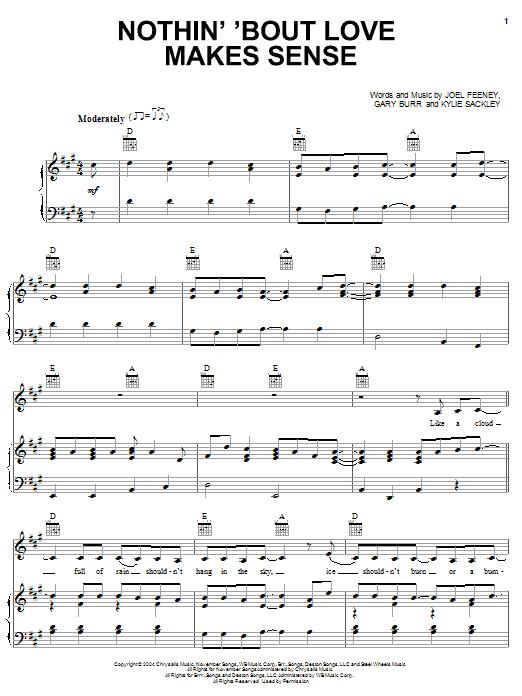 Nothin 'Bout Love Makes Sense (Piano, Vocal & Guitar (Right-Hand Melody))