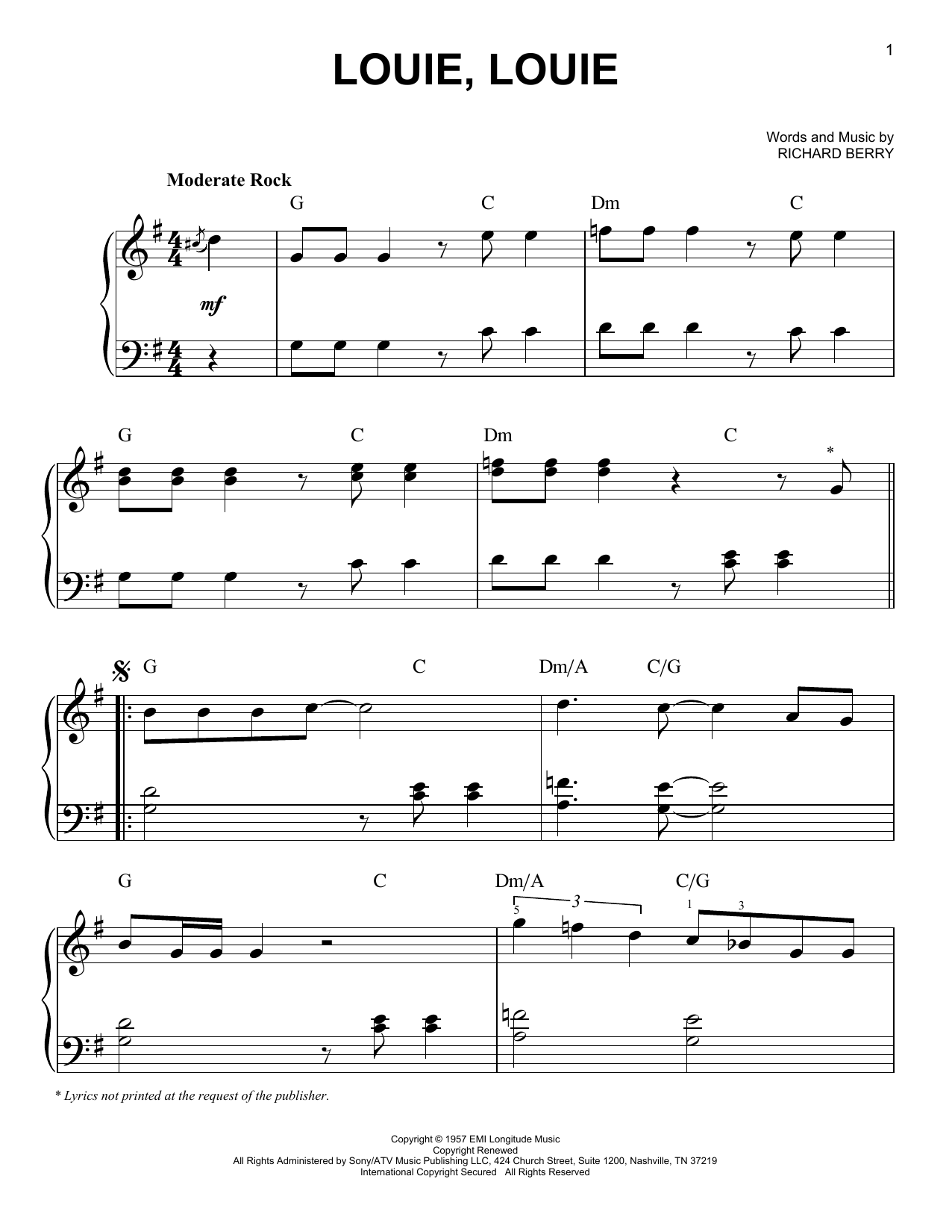 Louie, Louie Sheet Music