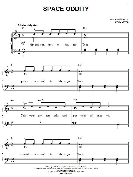 Space Oddity (Easy Piano)