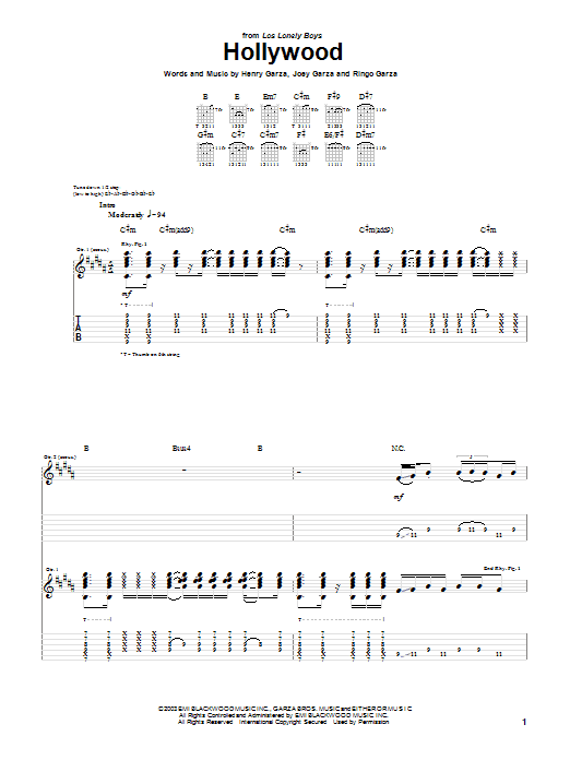 Tablature guitare Hollywood de Los Lonely Boys - Tablature Guitare