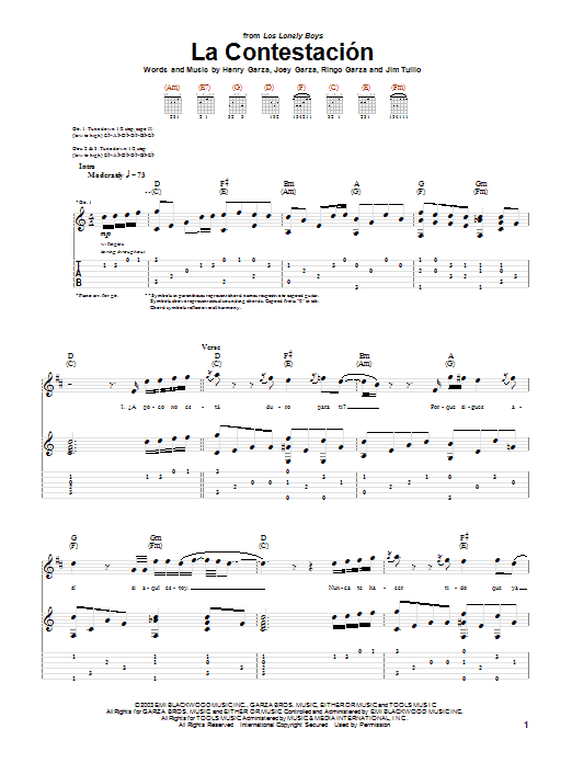 La Contestacion Sheet Music