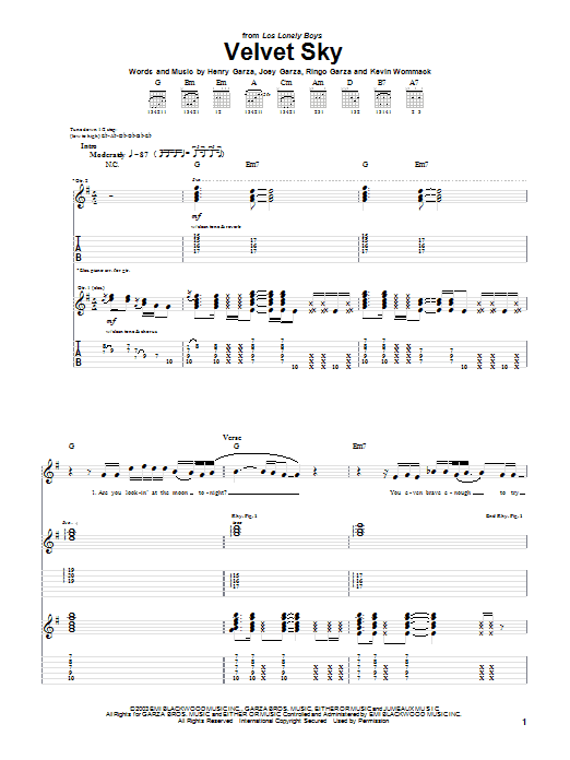 Tablature guitare Velvet Sky de Los Lonely Boys - Tablature Guitare