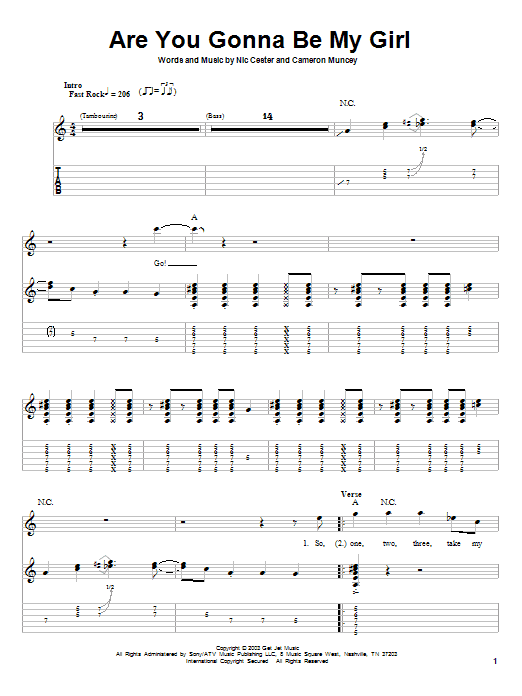 Are You Gonna Be My Girl (Guitar Tab (Single Guitar))