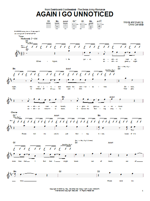 Tablature guitare Again I Go Unnoticed de Dashboard Confessional - Tablature Guitare