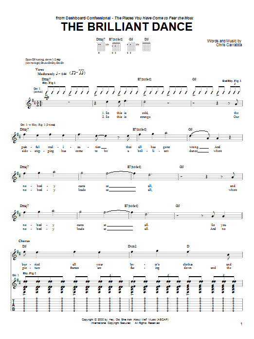 Tablature guitare The Brilliant Dance de Dashboard Confessional - Tablature Guitare
