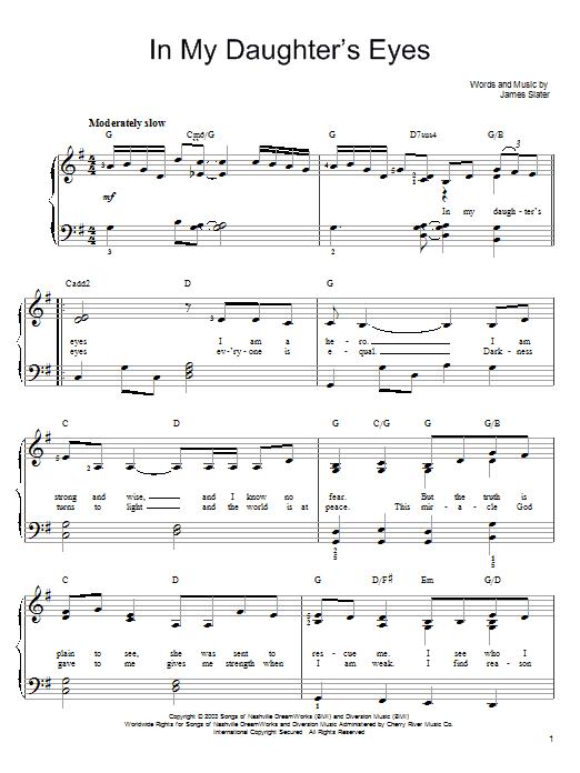 Partition piano In My Daughter's Eyes de Martina McBride - Piano Facile